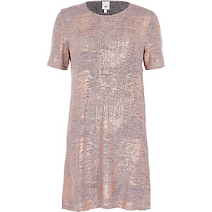 Bronze metallic foil T-shirt dress