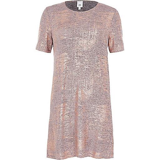 Bronze metallic foil T-shirt dress