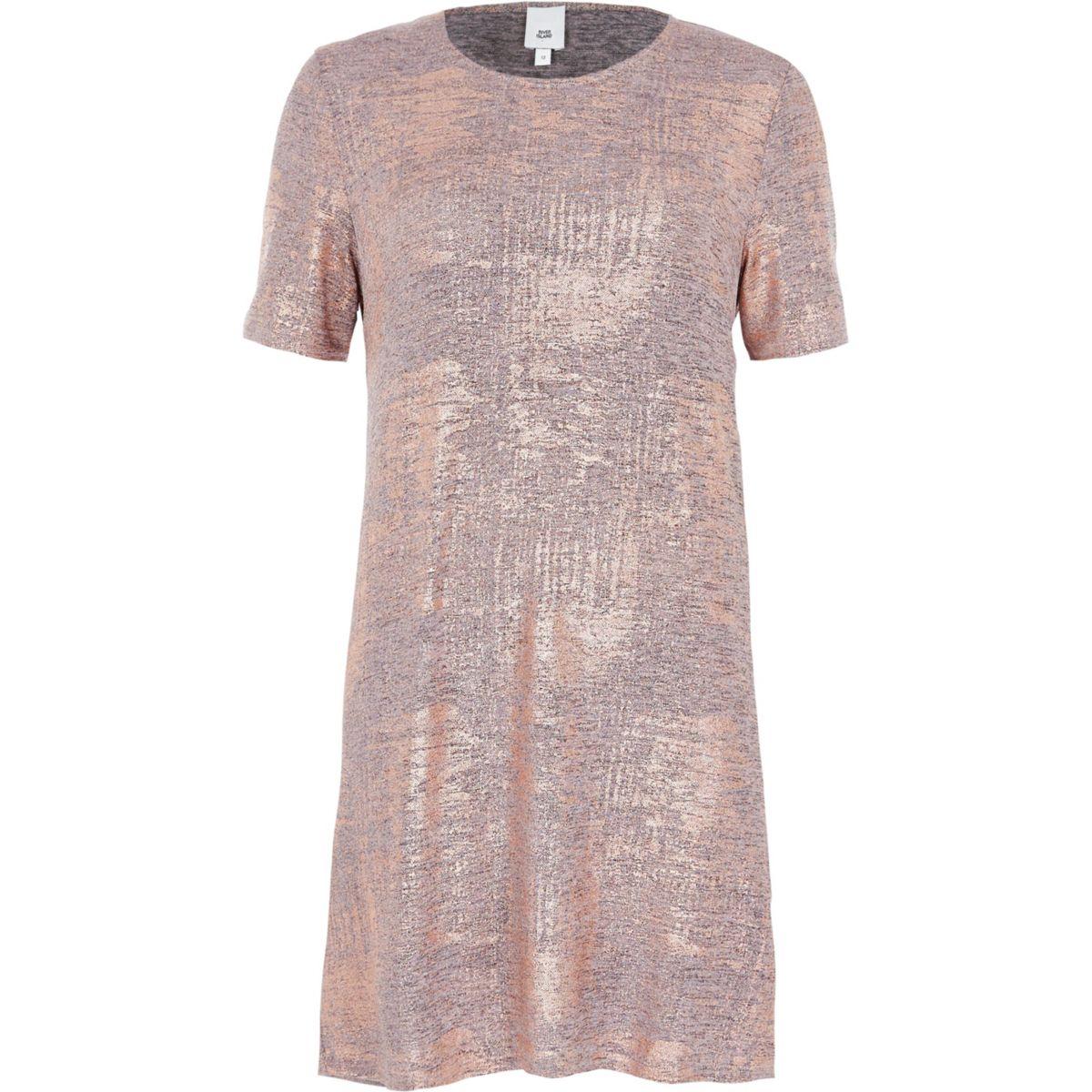 T-shirtjurk met bronskleurig metallic folie