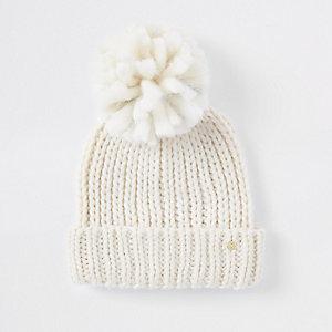 Bonnet crème avec nœud en velours