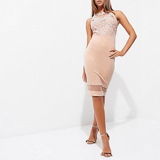 Light pink lace bodice bodycon mini dress