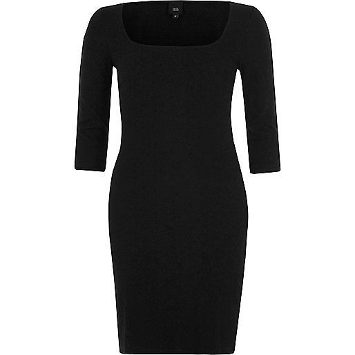 Black square neck bodycon midi dress