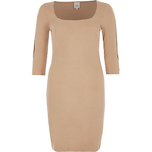 Beiges Bodycon-Midikleid