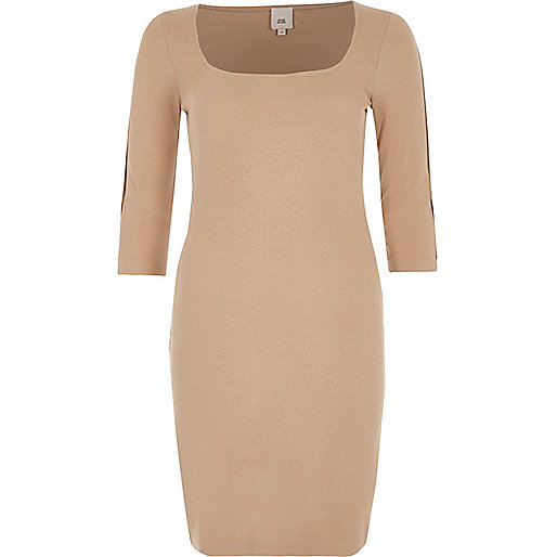 Beige square neck bodycon midi dress