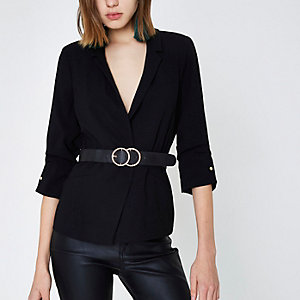 Black bar cuff blazer