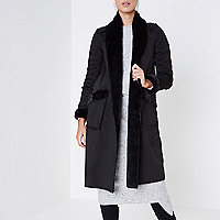 Black faux suede shearling coat