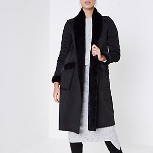 Black faux suede shearling coat