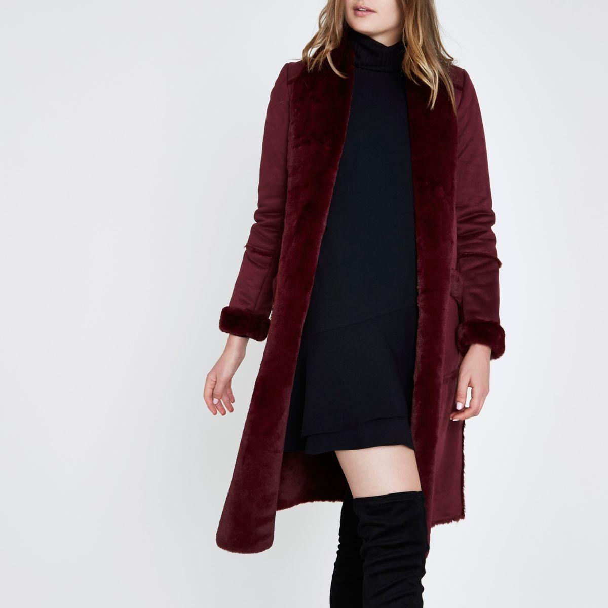 Dark red faux shearling coat