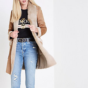 Camel faux shearling trim open front coat
