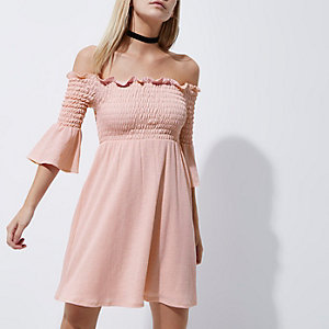 Petite pink shirred bell sleeve bardot dress