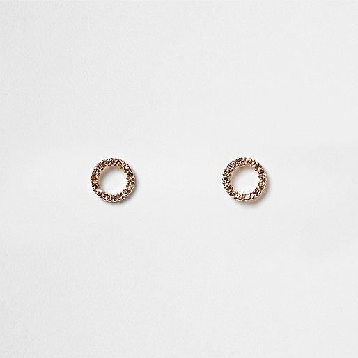 Rose gold tone pave circle stud earrings