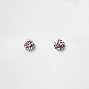 Rose gold tone purple diamante stud earrings