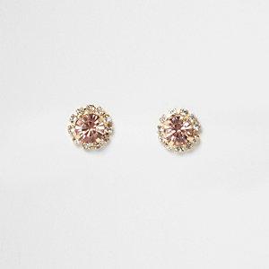 Pink stone rhinestone stud earrings