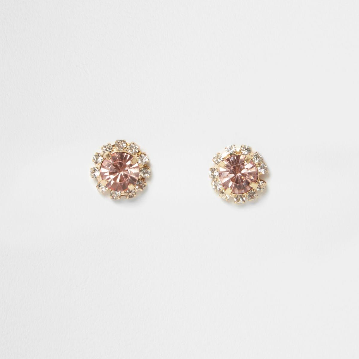 Pink stone diamante stud earrings