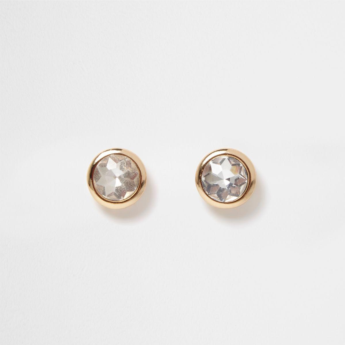 Gold tone crystal gem stud earrings