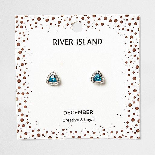 Blue gem December birthstone stud earrings