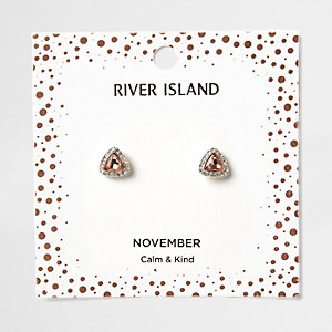 Orange gem November birthstone stud earrings