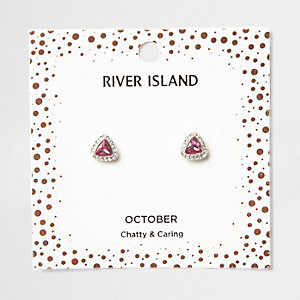 Pink gem October birthstone stud earrings