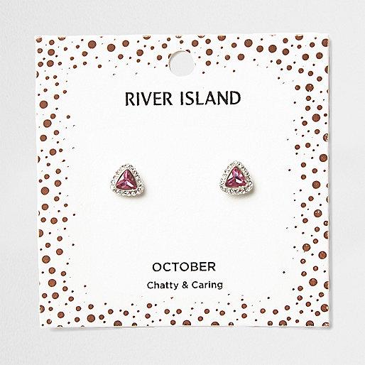 Pink gem October birthstone stud earrings