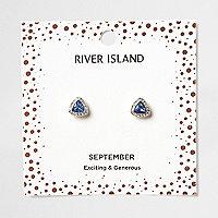Blue gem September birthstone stud earrings