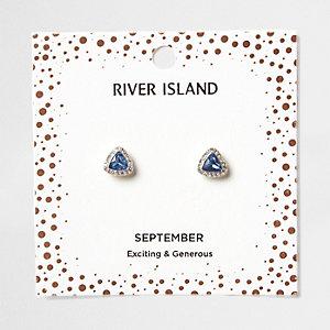 Oorknopjes met blauwe geboortesteen voor de maand september