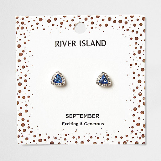 Blue gem September birthstone stud earrings