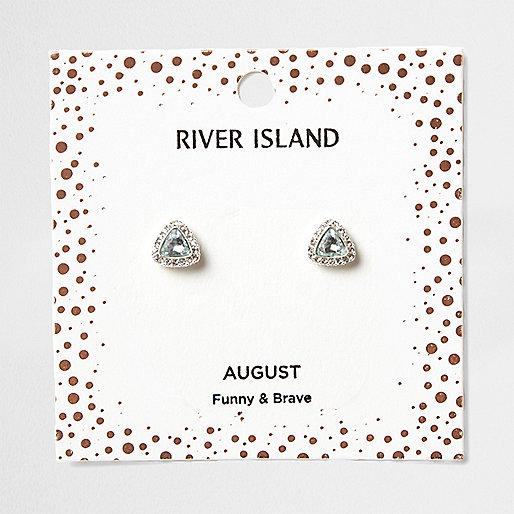 Green gem August birthstone stud earrings