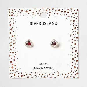 Red gem July birthstone stud earrings