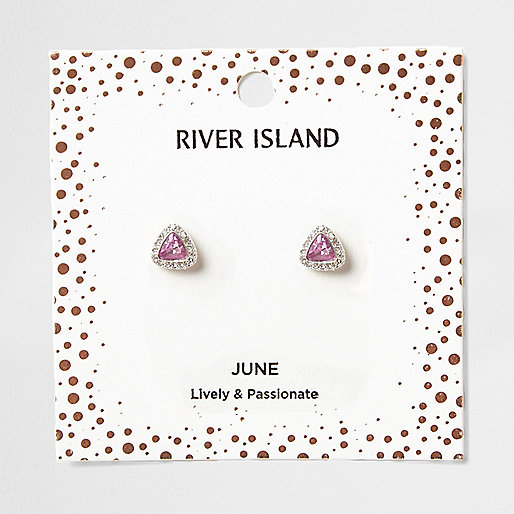 Purple gem June birthstone stud earrings