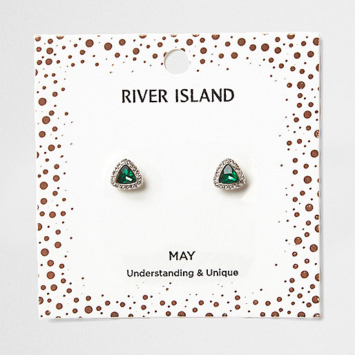 Green gem May birthstone stud earrings