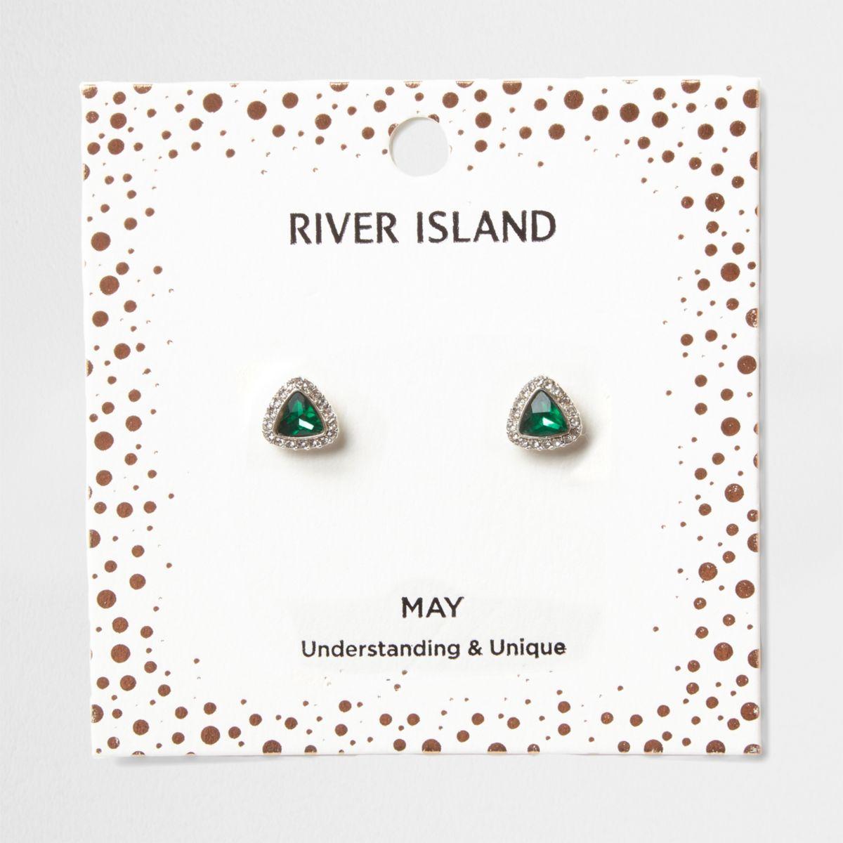Green gem May birthstone stud earrings