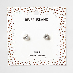 Silver gem April birthstone stud earrings