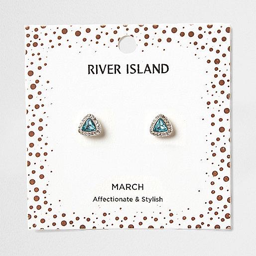Blue gem March birthstone stud earrings
