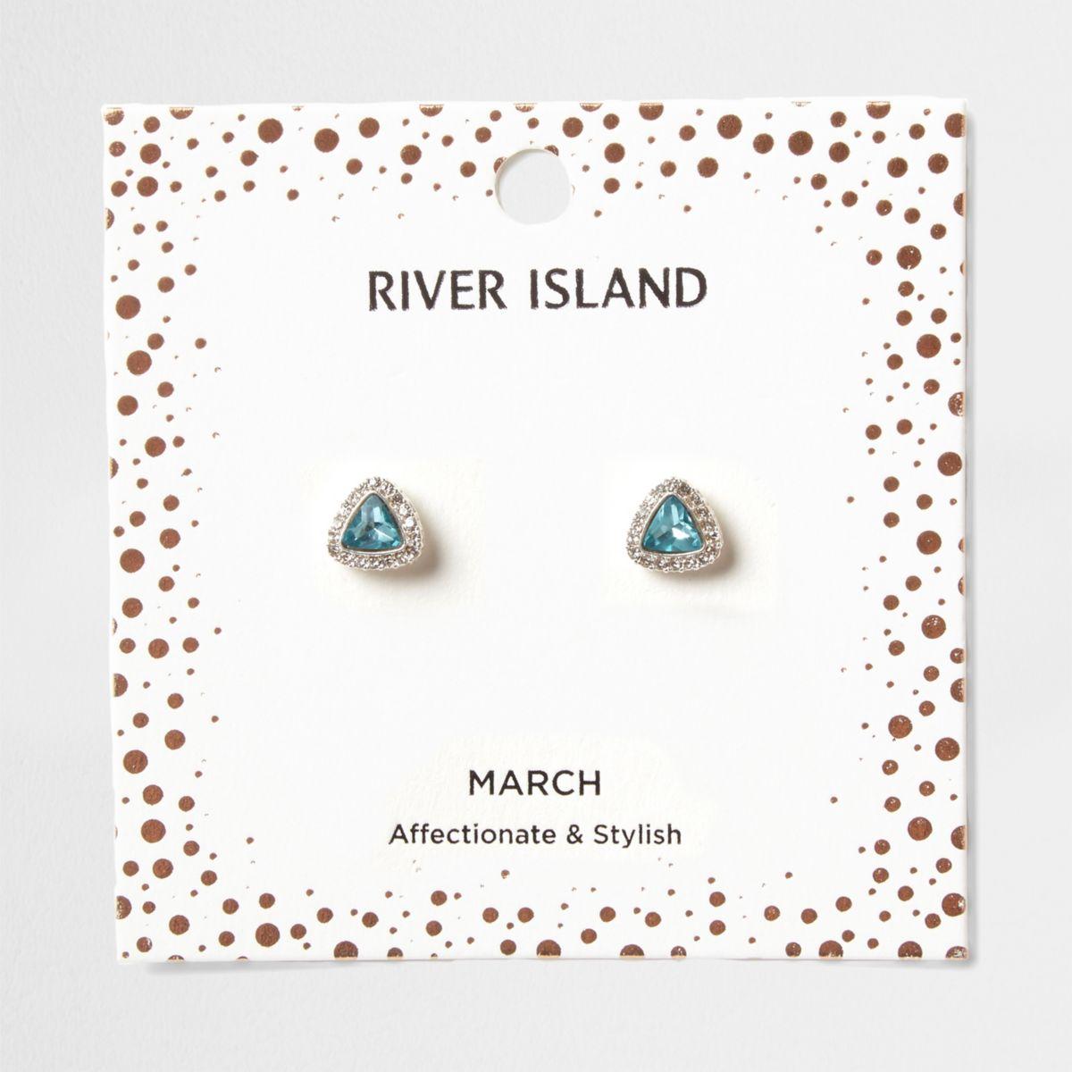 Oorknopjes met blauwe geboortesteen voor de maand maart