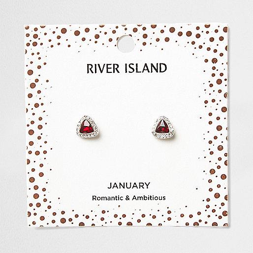 Red gem January birthstone stud earrings