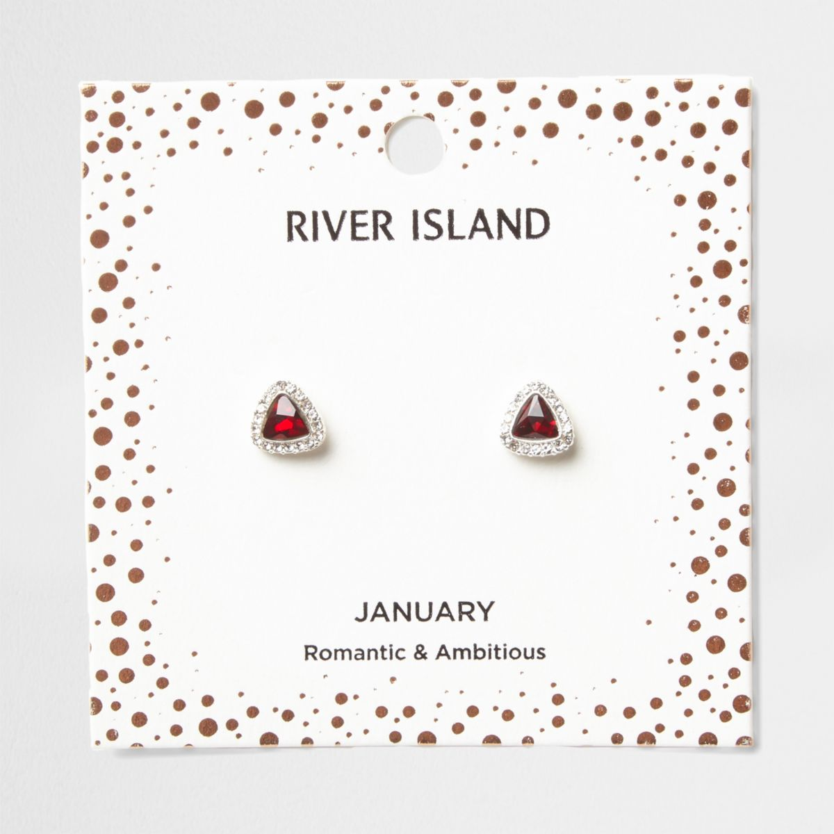 Red gem January birthstone stud earrings