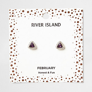 Purple gem February birthstone stud earrings