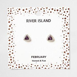 Clous d'oreilles avec pierre de naissance mois de février