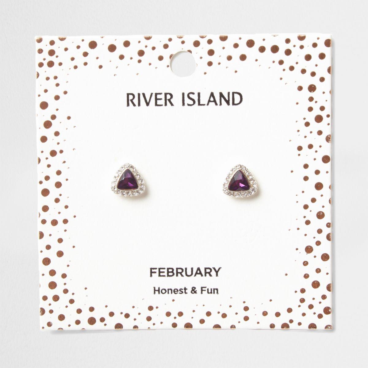 Purple gem February birthstone stud earrings