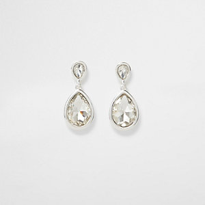 Silver tone teardrop rhinestone dangle earrings