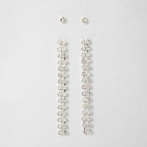 Diamante stud and dangle earrings set