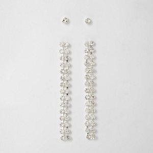Boucles d'oreilles avec clous et pendants en strass