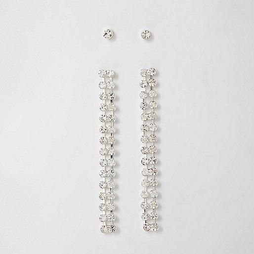 Rhinestone stud and dangle earrings set