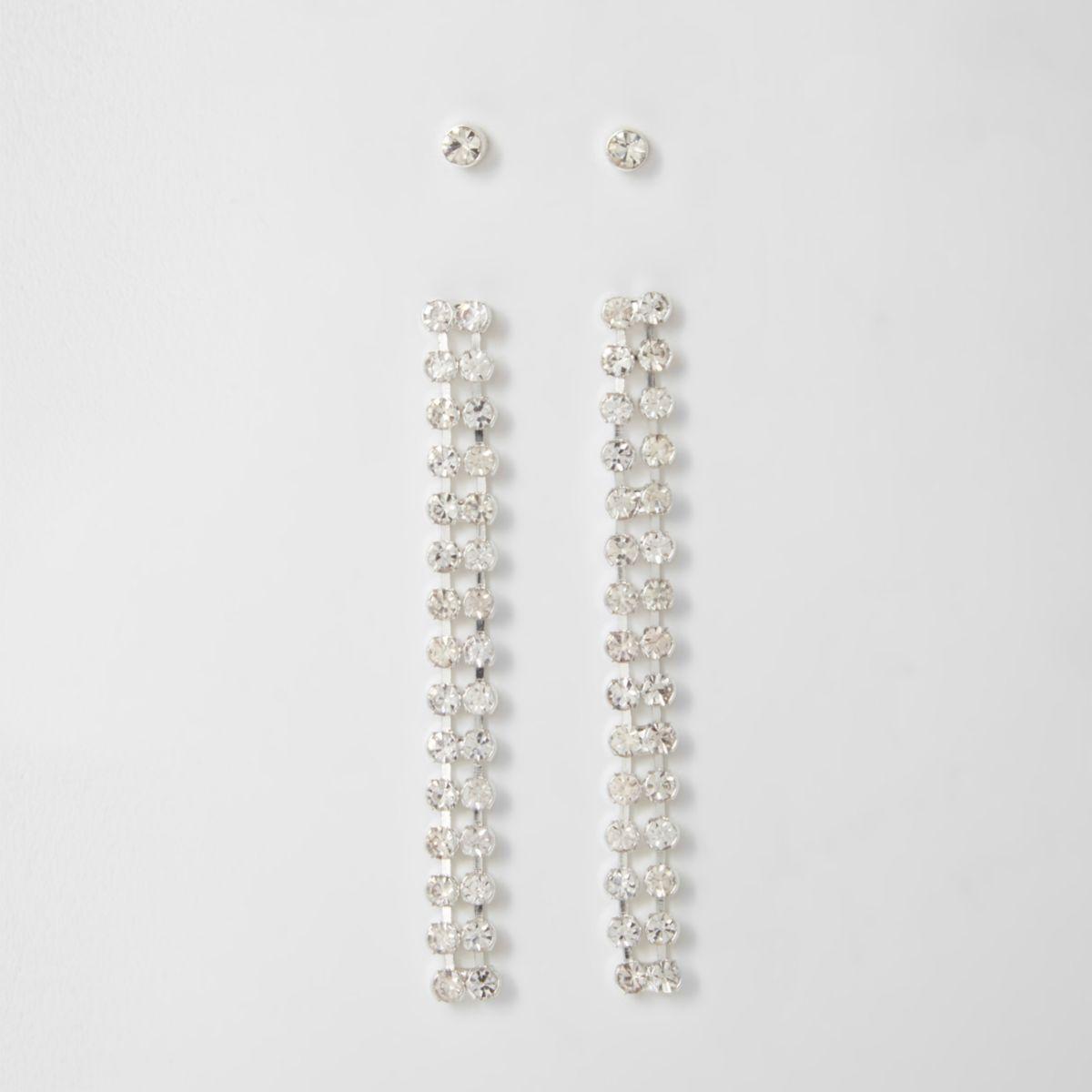 Diamante stud and dangle earrings set