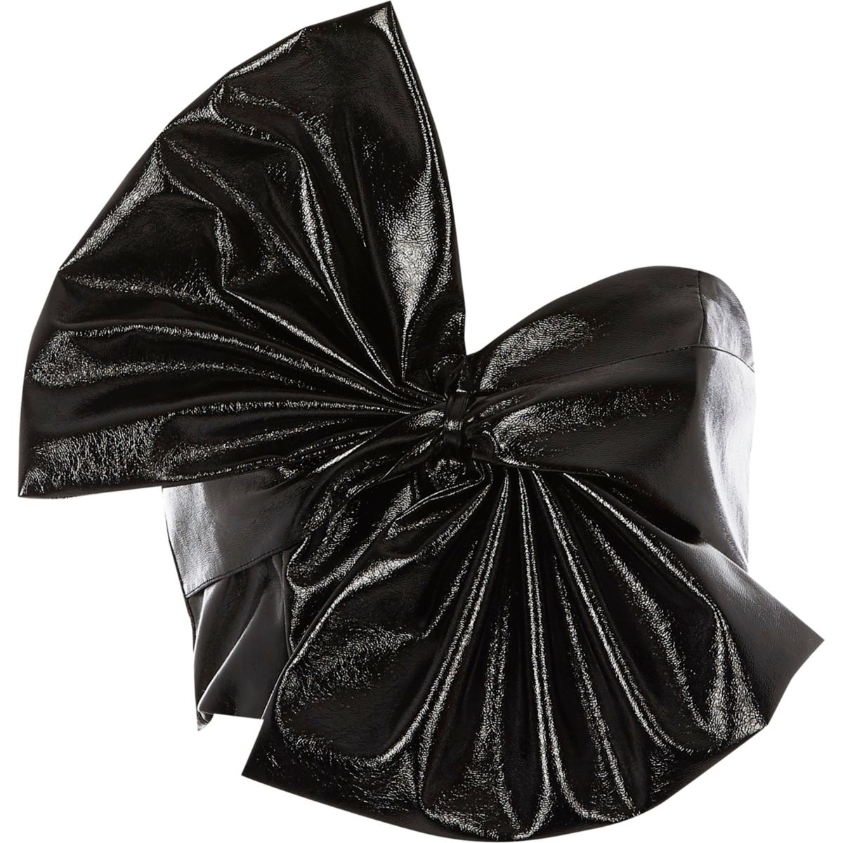 Black oversized bow vinyl crop top