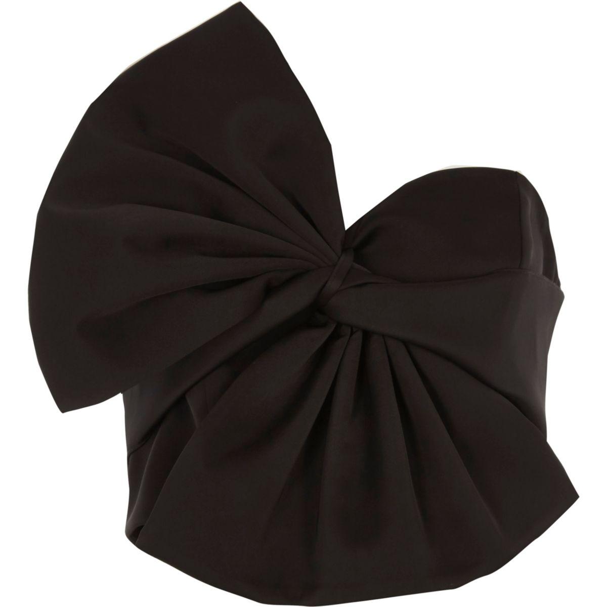 Black oversized bow bandeau satin crop top