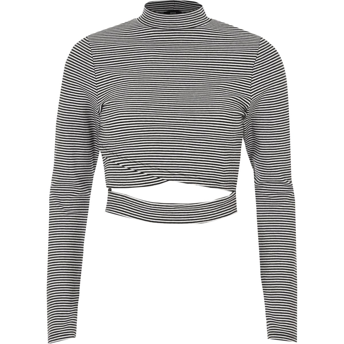 Black stripe wrap front long sleeve top