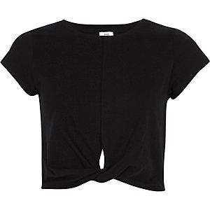 Zwart cropped jersey T-shirt met gedraaide voorzijde
