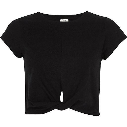 Black twist front jersey cropped T-shirt