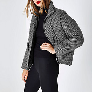 Grey dogtooth check puffer jacket